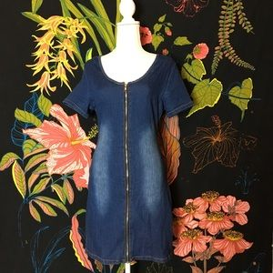 🗝 3for25 VINTAGE / Y2K Style Denim Zip Up Dress